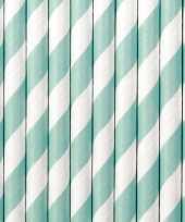 20x drinkrietjes papier mintgroen wit gestreept