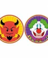 20x horror halloween versiering decoratie bierviltjes duiveltje horror clowntje van karton