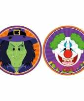 20x horror halloween versiering decoratie bierviltjes heksje horror clowntje van karton