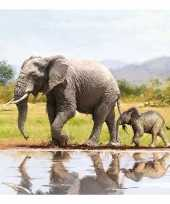 20x papieren servetjes olifanten print 33 x 33 cm