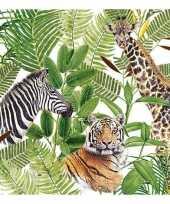 20x papieren servetjes wilde dieren in jungle print 33 x 33 cm