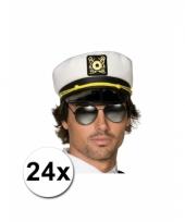 24 kapiteinspetjes wit voor volwassenen