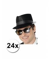 24 plastic gangster hoedjes van plastic