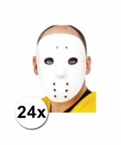 24 witte hockey maskers