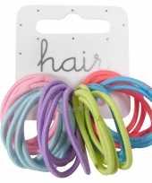 24x haar verkleed accessoires elastieken elastiekjes diverse kleuren zonder metaal