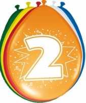 24x stuks gekleurde ballonnen 2 jaar
