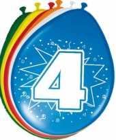 24x stuks gekleurde ballonnen 4 jaar