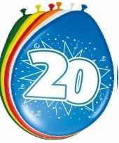 24x stuks gekleurde ballonnen versiering 20 jaar 8 stuks