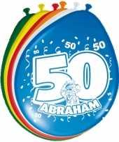 24x stuks gekleurde ballonnen versiering 50 jaar abraham