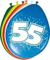 24x stuks gekleurde ballonnen versiering 55 jaar 8 stuks