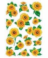 28x zonnebloem stickertjes met glitters