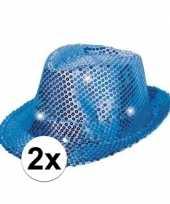 2x blauwe glitter hoedjes met led licht