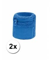 2x blauwe zweetbandjes met zakje