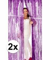2x deurversiering deco gordijn van paars folie