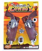 2x feest cowboy western revolver pistool zilver 22 cm met holster