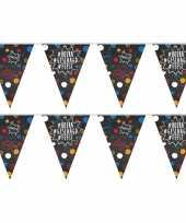2x feestartikelen geslaagd vlaggenlijntje slingertje 10 m krijtbord hashtags