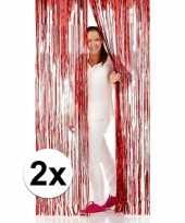 2x folie deurgordijnen rood 2 meter