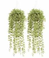 2x groene hedera klimop kunstplanten 50 cm in hangende pot