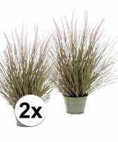 2x groene pennisetum grasplant kunstplant in pot 58 cm