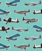 2x inpakpapier cadeaupapier vliegtuigen 200 x 70 cm mintgroen
