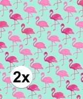 2x kadopapier met flamingos type 2 70 x 200 cm