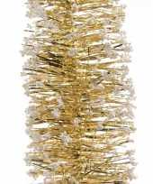 2x kerstboom folie slinger met sneeuw goud 200 cm