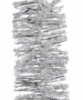 2x kerstboom folie slinger met sneeuw zilver 200 cm