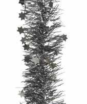 2x kerstboom folie slinger met ster antraciet 270 cm