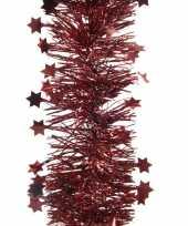 2x kerstboom folie slinger met ster donker rood 270 cm