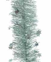 2x kerstboom folie slinger met ster mint groen 270 cm