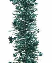 2x kerstboom folie slinger met ster smaragd groen 270 cm