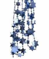 2x kerstboomversiering ster kralenketting blauw 270 cm