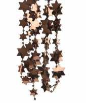 2x kerstboomversiering ster kralenketting donker bruin 270 cm