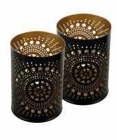 2x metalen kaarsenhouders zwart koper