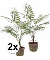 2x nep palm plant groen in terracotta pot kunstplant