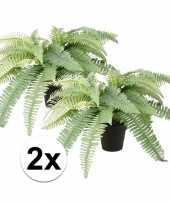 2x nep varen plant groen in zwarte pot kunstplant