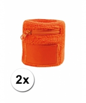 2x oranje zweetbandjes met zakje