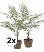 2x palmboom nep 70 cm groen in pot