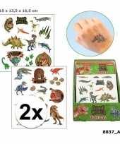 2x plak tatoeages dinosaurus 4 vellen