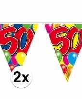 2x slingers 50 jaar buiten vlaggetjes 10 meter
