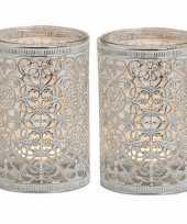 2x theelichthouders zilver antiek 12 cm