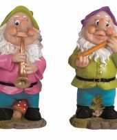 2x tuindecoratie beeldjes kabouters dwergen 30 cm muzikanten groen paars