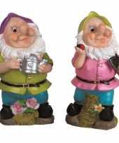 2x tuindecoratie beeldjes kabouters dwergen 30 cm paars groen 10111920