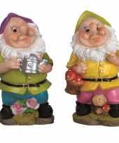 2x tuindecoratie beeldjes kabouters dwergen 30 cm paars groen