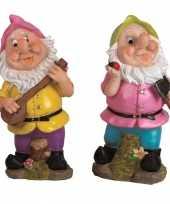 2x tuindecoratie beeldjes kabouters dwergen 30 cm roze groen 10111837