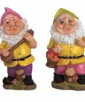 2x tuindecoratie beeldjes kabouters dwergen 30 cm roze groen