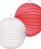 2x witte en 2x rode lampionnetjes