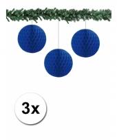 3 blauwkleurige decoratie bollen van papier 10 cm