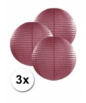 3 bolvormige lampionnen bordeaux 25 cm