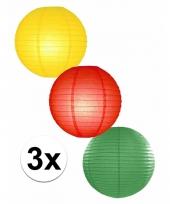 3 bolvormige lampionnen carnaval 25 cm